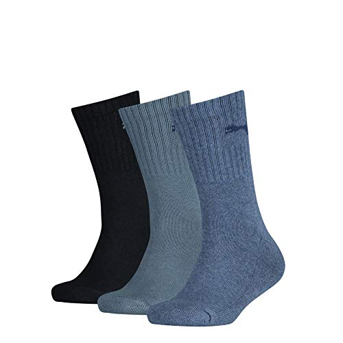 PUMA Unisex-Child Junior Sport (3 Pack) Socks, denim blue, 35-38