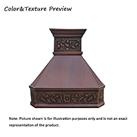 """SINDA Natural Beautiful Copper Kitchen Hood, Handcrafted by Skilled Artisan, Comes with High Air Flow Motor Fan, 42""""Wx39""""H, Smooth-Antique Copper, Island Mount, H14LA-SCI4239 3 SIZE: Island Mount 42""""Wx39""""H.The width of an island mount copper range hood should be 3-6 inches wider than the cooktop. And the height range between your cooktop and the copper range hood should be from 30 to 36 inches. We suggest a height of 36 inches for an island mount. Custom sizes available upon request by email. Material: 16 gauge pure virgin copper. PATINA&TEXTURE: Smooth; Antique Copper. Want to touch a real finish? You may click on this link: https://www.amazon.com/dp/B07Q3FS4NQ. BASIC EQUIPMENT: Stainless Steel 304 Vent with Liner and Internal Motor, Reusable Baffle Filter, Grease Channel, Yellow LED lights(3W 12V) and 4-Speed Control; Powerful Airflow Fan: (30""""/36""""W: single motor, 610 CFM, 6"""" round duct; 42""""/48""""W: dual motors, 960CFM, 8"""" round duct); Ductless and remote blowers with In-line liner options available upon request by email;"""