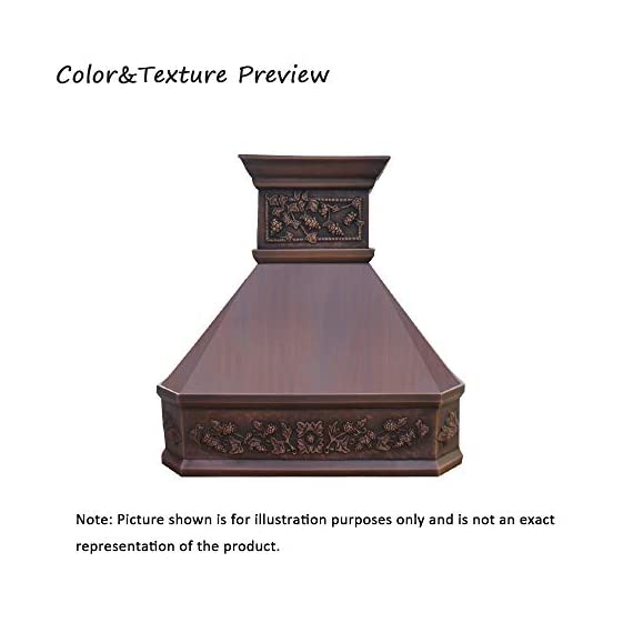 """SINDA Natural Beautiful Copper Kitchen Hood, Handcrafted by Skilled Artisan, Comes with High Air Flow Motor Fan, 42""""Wx39""""H, Smooth-Antique Copper, Island Mount, H14LA-SCI4239 1 SIZE: Island Mount 42""""Wx39""""H.The width of an island mount copper range hood should be 3-6 inches wider than the cooktop. And the height range between your cooktop and the copper range hood should be from 30 to 36 inches. We suggest a height of 36 inches for an island mount. Custom sizes available upon request by email. Material: 16 gauge pure virgin copper. PATINA&TEXTURE: Smooth; Antique Copper. Want to touch a real finish? You may click on this link: https://www.amazon.com/dp/B07Q3FS4NQ. BASIC EQUIPMENT: Stainless Steel 304 Vent with Liner and Internal Motor, Reusable Baffle Filter, Grease Channel, Yellow LED lights(3W 12V) and 4-Speed Control; Powerful Airflow Fan: (30""""/36""""W: single motor, 610 CFM, 6"""" round duct; 42""""/48""""W: dual motors, 960CFM, 8"""" round duct); Ductless and remote blowers with In-line liner options available upon request by email;"""