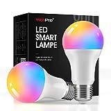 LED Smart Lampe E27 (2 Pack), WdtPro 800LM WLAN Alexa Glühbirnen mit 16 Millionen Farben, 2700-6500K Dimmbare LED Birne Kompatibel mit Google Home Alexa, Echo, Echo Dot und Kein Hub Benötig