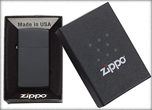 Zippo Black Matte Slim Mechero, Cromo, Negro, 5.8x 3.6x 1.8cm
