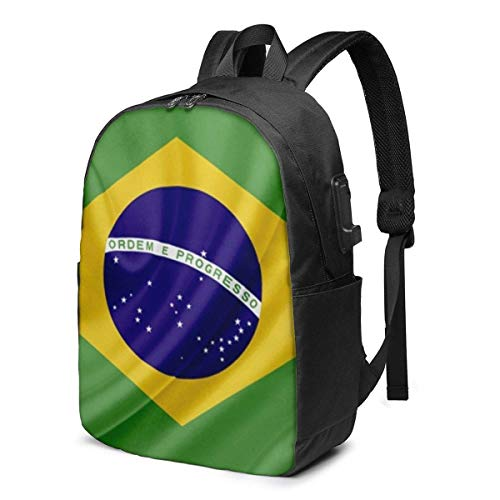 Brazilian Flag Laptop Backpack Durable Laptops Backpack with USB Charging Port College School Computer Bag and Notebook Black