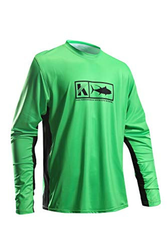 Performance Fishing Shirt Vented Long Sleeve Shirt Sun Protection UPF50 Moisture Wicking Rash Guard with Mesh Sides Loose Fit, Green,X-Large