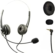 Dual Headset Headphones with Volume+Mute Control+Standard 2.5mm+Noise Cancellation Mic for Cisco SPA Series Spa303 Spa504g, Polycom Soundpoint Ip 330, Grandstream, Linksys, Panasonic, Cortelco
