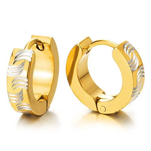 2 Plata Oro Pendientes del Aro con Ola Patrones Láser, Pendientes, Acero, Hombre Mujer