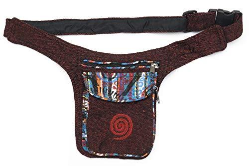 Kailash Bauchtasche mit Buntem Muster Aus Stoff Für Damen und Herren Goa Hippie (Rot)