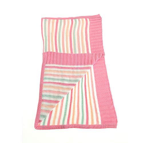 Ziggle bébé réversible couverture dans les rayures roses et vertes pour nursery lit et pram, peignées coton tricoté, nouveau cadeau bébé