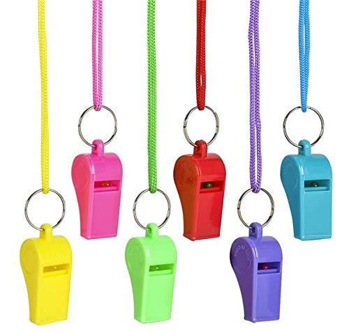Rhode Island Novelty 2 Inch Neon Whistle Necklaces, One Dozen per Order