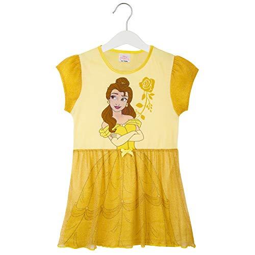 Disney Nachthemd Mädchen, Kinder Unterwäsche Mädchen mit Prinzessinen Belle, Rapunzel, Jasmine, Ariel und Aschenputtel, Prinzessin Kleid Mädchen mit Netz (Gelb, 11-12 Jahre)
