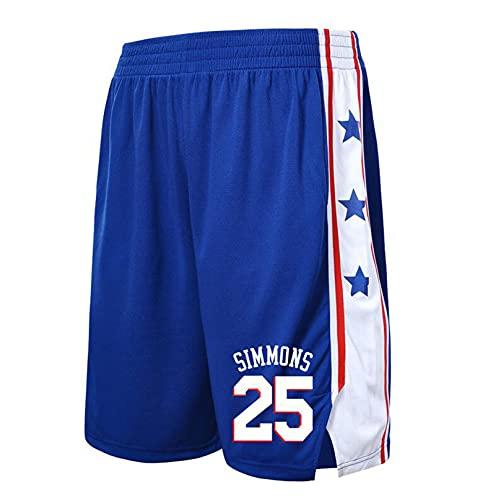 JX-PEP Pantalones cortos de baloncesto para hombre Philadelphia 76ers # 25 Ben Simmons Jogging Bottoms Chándal Pantalones cortos de ciclismo al aire libre, azul, XXL
