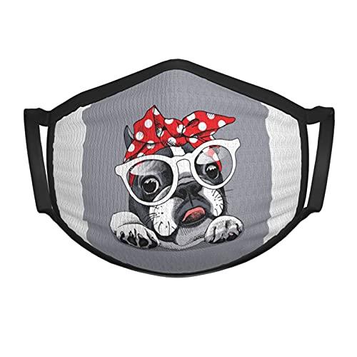 French Bulldog with Headband Kids Face Mask Soft Dustproof Reusable Balaclava Washable Face Masks Black