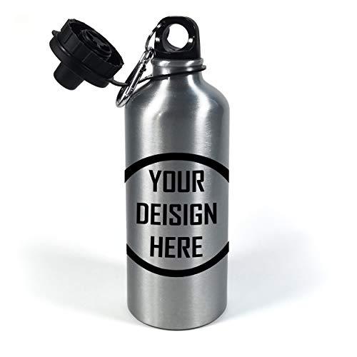 Gifty Lab Borraccia in Alluminio con Stampa Personalizzata, Stampa Frontale 4 Colori, Silver, 600ml - Doppio Tappo