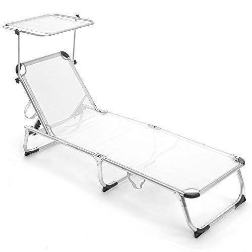 Bakaji - Tumbona para tomar el sol con capota parasol de aluminio plegable, para playa, jardín, ahorro de espacio, Bianco