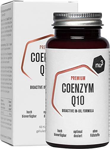 nu3 Premium Coenzym Q10 Kapseln - 60x hoch dosierte 100mg Q10 Kapsel - frei von Gluten & Laktose - Softgel-Kapseln für leichte Einnahme - hohe Bioverfügbarkeit - Vegan