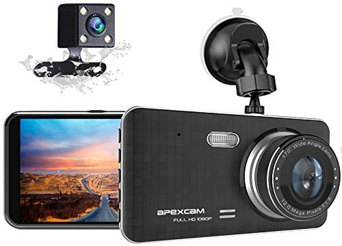 Dash Cam for Car Front Rear Dual Car Camera 4″ IPS 1080 Driving Recorder 170°Wide Angle with Backup Camera,G-Sensor, WDR Loop Recording,DVR Parking Monitor,Night Vision,Motion Detection[2021 New]