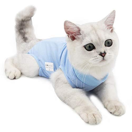Cat Surgery Recovery Kit Bauchwunde oder Hautkrankheit, E-Collar Ersatz, postoperative Kleidung, professionelle Heimtierbekleidung (S, Blau)