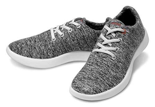 LeMouton Classic Men's Wool Shoe | Comfortable Lightweight | Walking Lace Up Sneaker Dark Grey