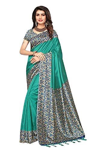 Indian bollywood wedding saree indisch Ethnic hochzeit sari new kleid damen casual tuch birthday crop top mädchen cotton silk women plain traditional party wear readymade Kostüm (bottle green)