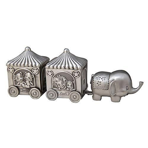 joyeros,Carrito de elefante de estilo europeo creativo, caja de dientes de hoja caduca lanugo para bebés, caja de recolección de cabello y dientes de niño exquisitos retro