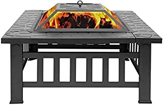 Fire Pit with Grill Shelf Large 3 in 1 Fire Pi, Backyard Patio Garden Stove,Outdoor Fire Pit Table,Fire Pit Set,Wood Burni...