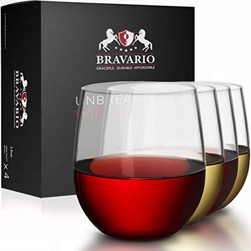 Bravario Unbreakable Stemless Plastic Wine Glasses  Shatterproof 100 Tritan  Dishwasher-Safe  BPA-free  Awesome for Indoor Outdoor  13 oz Set of 4