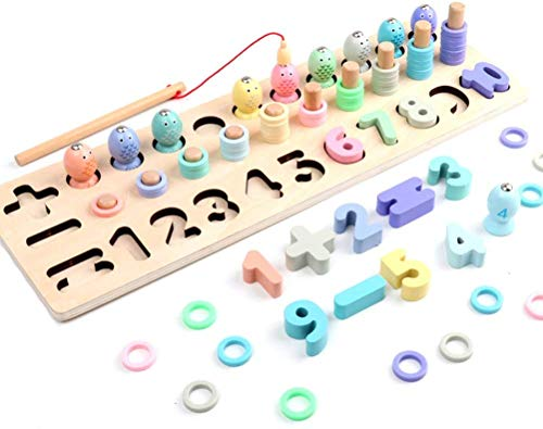 Lalia Steckspiel aus Holz mit 45x15cm Steckbausteinen Magnet bunt Holzspielzeug Steckpuzzle Motorik Motorikwürfel Geschenk für Kleinkinder Kinder ab 3 Jahren Spielzeug Holzpuzzle
