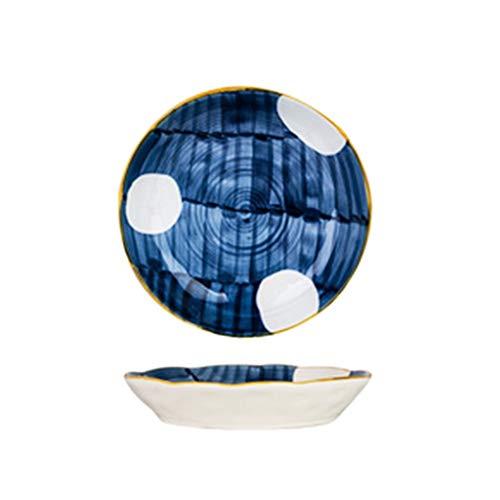 Assiette Cadeau Exquis Style Peint À La Main Bleu Os Rond en Porcelaine Vaisselle en Céramique Plate Ménage Creuse 21cm (Color : Blue, Size : 21 * 4.2cm)