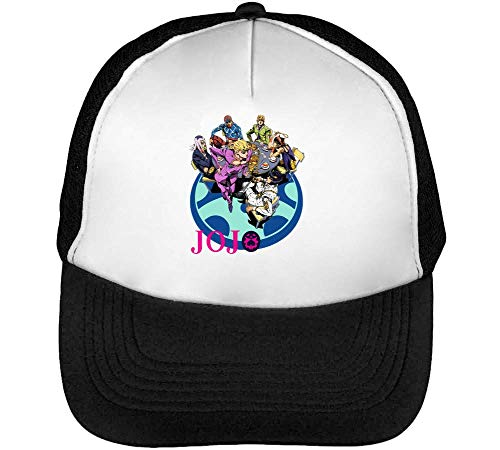JoJo's Bizzare Adventure Anime Artwork Gorras Hombre Snapback Beisbol Negro Blanco
