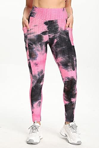Leggings Push Up Mujer,Pantalones de yoga de burbujas de cadera de melocotón explosivo europeo y americano, leggings deportivos de bolsillo de cintura alta para mujer, leggings deportivos-Tinte de co