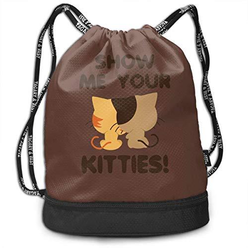 Voxpkrs Show Me Your Kitties Unisex Waterproof Drawstring Backpack Rucksack Yoga Dance Travel Shoulder Bags