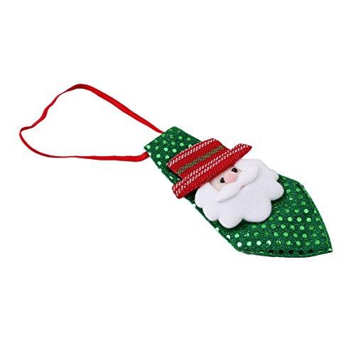 ODN Weihnachten Pailletten Krawatte für Kinder Weihnachtsfest Dekorationen (Grün Weihnachtsmann)