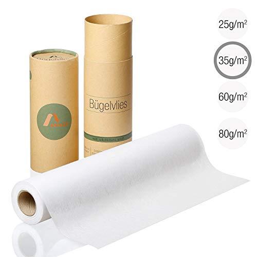 Amazy Bügelvlies für leichte Stoffe (weiß | 35 g/m2) – Bügeleinlage zum Verstärken von Kleidung, Decken und Taschen, für Applikationen und Patchwork (9 x 0,4 m)
