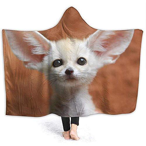 White Fennec Fox Man Hooded Blanket Superweiche Flanelldecke Hoodie Tragbare Decke Robe mit Kapuze Kapuzenmantel für Bademantel