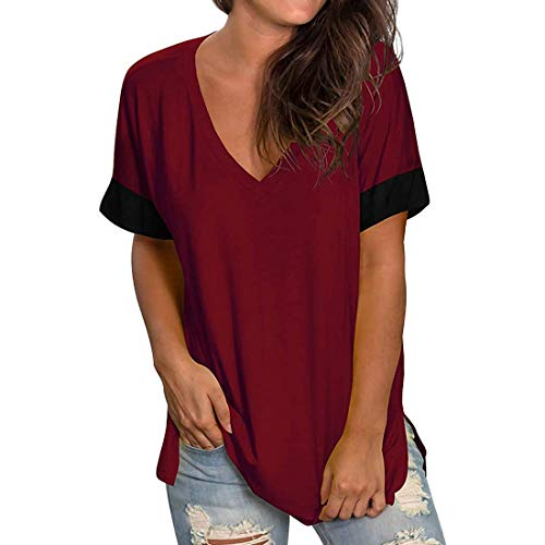 Camiseta de Mujer Tops de Manga Corta Color sólido con Cuello en V Dobladillo Largo Tops Casuales de Verano Blusa básica de Manga Corta para Mujer con Cuello en V de Color sólido Tops Casuales Largos