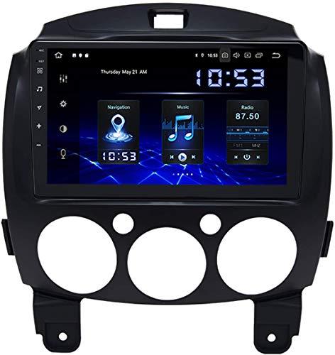 Coche Estéreo Auto Audio Player Doble Din FM Radio Android 10.0 SAT NAV LCD Monitor De 9 Pulgadas Pantalla Táctil GPS Navegación Compatible Para Mazda 2 2007-2012,4 core WiFi 1+16GB