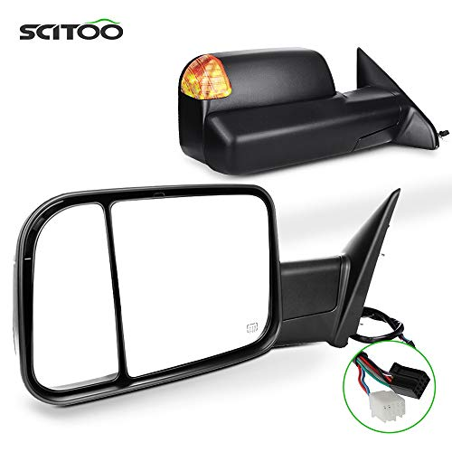 SCITOO Towing Mirrors fit for Dodge for Ram Exterior Accessories Mirrors fit 2009-2016 for Ram 1500 2500 3500 with Heated Temperature Sensor Amber Turn Signal Puddle Power Controlling Features