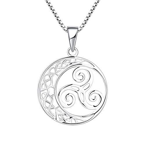YL Keltischer Schmuck Damen Halskette Triskele Kette Silber Trinity Keltischer Knoten Schmuck 45+3CM Silberkette Ketten.