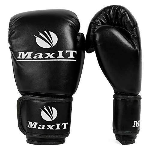 MaxIT Kids Boxing Gloves, Sparring, Boxing, Kickboxing Training Gloves, Black 6OZ