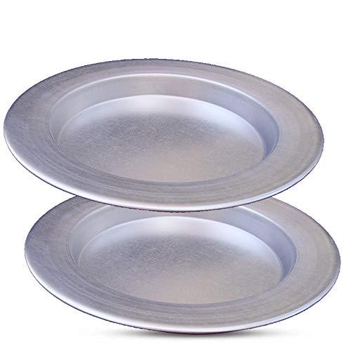 Kunefe Plate - Platos de cocina y servir para Kadaifi, Phyllo, Fillo Dough Pan/Turco Postre Dough Burner - Juego de 3 sartenes de aluminio color plateado (compatible con Frozen Kunefe)