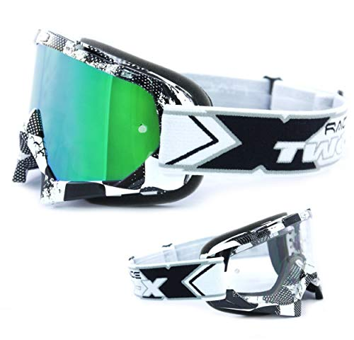 TWO-X Race Crossbrille Factory schwarz Weiss Glas verspiegelt grün MX Brille Motocross Enduro Spiegelglas Motorradbrille Anti Scratch MX Schutzbrille
