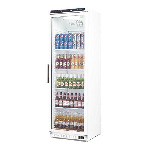 Flaschenkühlschrank, Getränkekühlschrank mit Rollen ideal für Dosen, Bierflaschen und PET Flaschen 400 Liter abschließbar mit Beleuchtung und elektronischer Steuerung, LED Temperaturanzeige