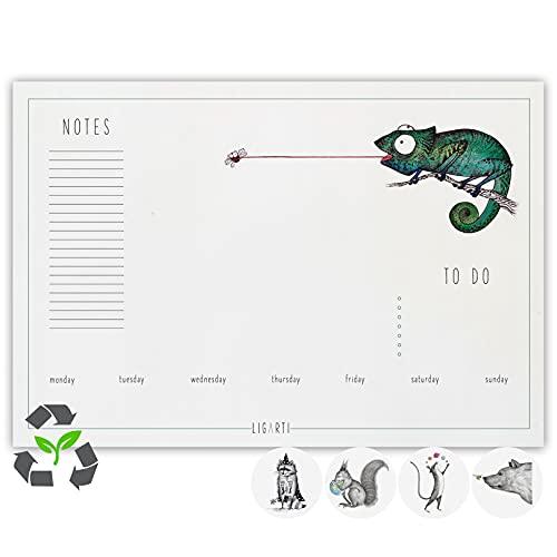 Ligarti Schreibtischunterlage Papier (100% nachhaltig) A3+ Wochenplaner Block mit To Do Liste und wechselnden Motiven - Weekly Planner undatiert, Schreibtisch Unterlage - Misch Masch