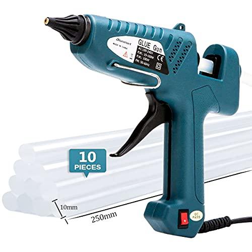 Pistola per colla a caldo, Blusmart 100W. Colla a caldo Watts industriale 10PCS bastoncini di colla trasparente inclusi. Adatta per bricolage, modellismo navale, artigianato e riparazioni.