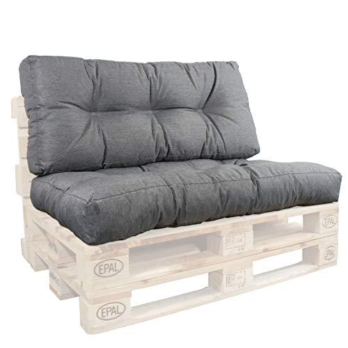 Palettenkissen 120 x 80 Sitzkissen und Rückenlehne 50cm Palettensofa Polster Set GRAU