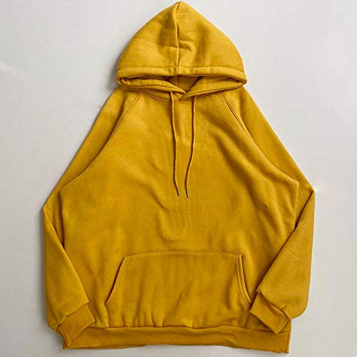 Sweatshirt Sweater Hoodies Fleece Candy Color Thickening Loose Lazy Pullover Sweatshirt Hooded Tops Onesize Yellow
