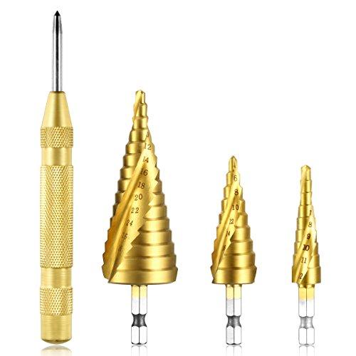 Qibaok Step Drill Bit Set with Automatic Center Punch, 3 PCS HSS Titanium Hex Shank Step Cone Drill Bits for Plastic, Wood, Aluminum, Metal Sheet, Metric 4-12/4-20/4-32mm
