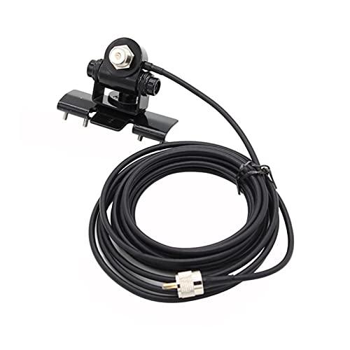 HUAHUA JCSU Store Soporte de Montaje de Antena de Coche RB-400 + Conector de Cable de Cable AXTENCOR + 5M PL259 Ajuste para Radio móvil TH-9800 BJ-218 KT8900 (Color : Black)