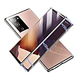 Magnetic Case for Samsung Galaxy Note 20, Double Sided HD Clear Tempered Glass Fingerprint Unlock[Metal Bumper Frame], 360 Full Protection Phone Cover for Galaxy Note 20 (Silver,Note 20-6.7'')