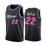 # 22 Jimmy Butler City Edition Camiseta de Baloncesto con Bordado de Malla Negra, Miami Heat, Camiseta sin Mangas Unisex de Secado rápido con Chaleco Deportivo. Black-XXL