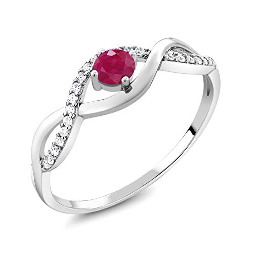 Gem Stone King Red Ruby 925 Sterling Silver Women's Infinity Ring 0.61 Ct Round Gemstone Birthstone (Size 9)